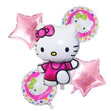 6 pcs Del Fumetto Ciao kitty foil aria Elio Palloncini Felice Festa di Compleanno Forniture di compleanno Per Bambini gonfiabili Giocattoli Classici