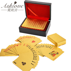 Image 1 - Wooden Gifts Box Pack Gold Foil Poker Playing Cards Box Waterproof Poker Cards Box 24K Plated Poker Golden Game Cards With Box