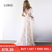 LORIE Boho Wedding Dress 2019 V Neck Cap Sleeve Lace Beach Wedding Gown Cheap Backless Custom Made A Line Bride Dresses