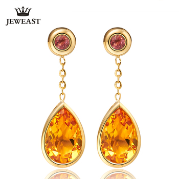 LSZB Natural citrine 18K Pure Gold Earring Real AU 750 Solid Gold Earrings  Diamond  Trendy  Fine Jewelry Hot Sell New 2020 1