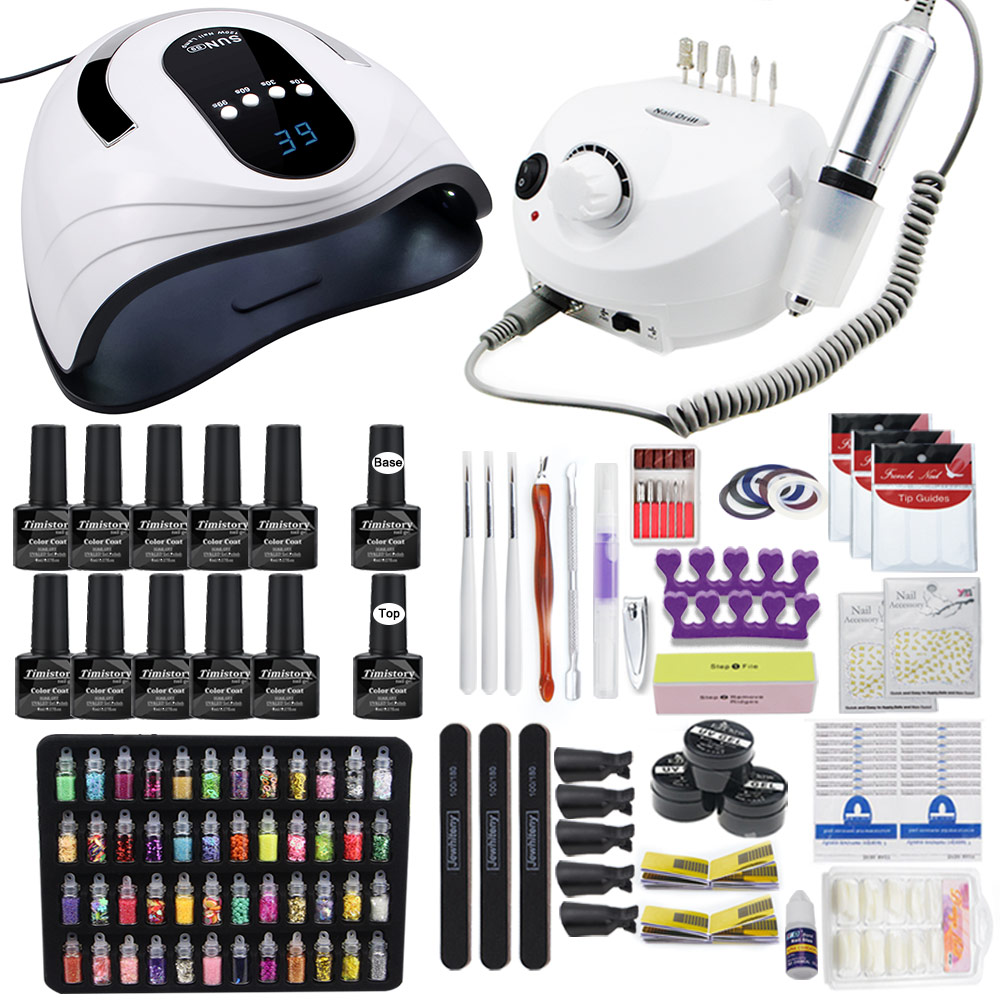 Nail Set Upgraded Version Professional Nail Kit 120W LED Nail Lamp 10 Color Polish With Base Top Coat With Electric Nail Drill