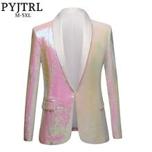 PYJTRL New Men Pure White Pink Sequins Shawl Lapel Blazers Gentleman Prom Dress
