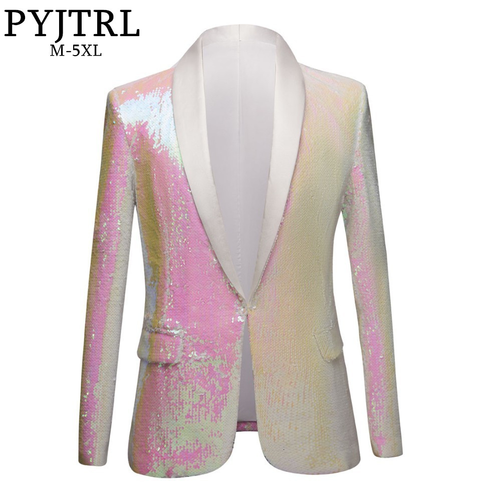 PYJTRL New <font><b>Men</b></font> Pure White Pink <font><b>Sequins</b></font> Shawl Lapel <font><b>Blazers</b></font> Gentleman Prom Dress Suit <font><b>Jacket</b></font> Night Club Singers Slim Fit Costume image