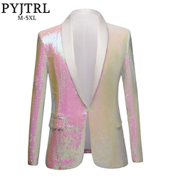 PYJTRL Nieuwe Mannen Pure Wit Roze Pailletten Shawl Revers Blazers Gentleman Prom Jurk Jasje Nachtclub Zangers Slim Fit kostuum