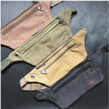 Newest Men Ultrathin Outdoor Sports Running Waist Bag Canvas Gym Belt Bag For 6.5Inch Mobile Phones Pouch Large Size Military Ba image
