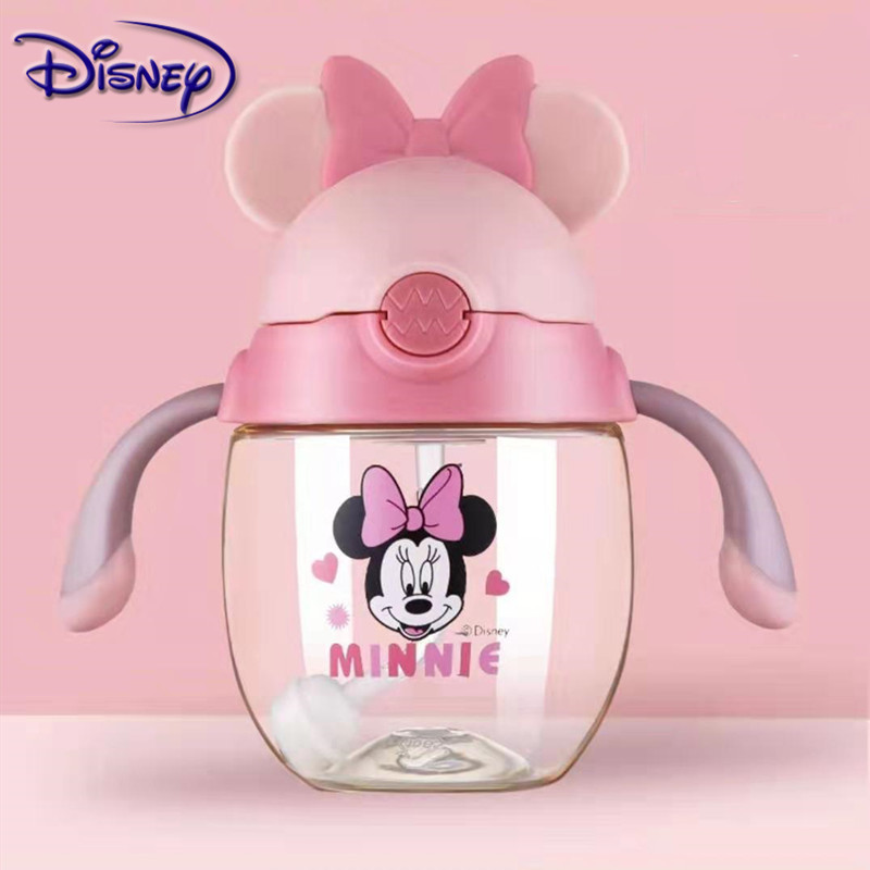 Disney 350ml Baby Minnie Mickey Feeding Cups Dual-Use With Handle Suction Training Kindergarten Bottle Soft Mouth Infant Bottles