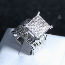 Deluxe Promise Pave Zircon Rings for Women and Men Wedding Jewelry Gift(China)
