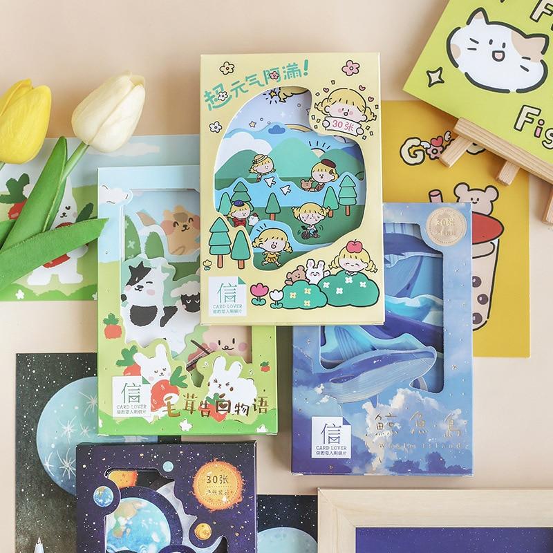 30 Pcs/Set Cartoon Animals And Girl Postcard Heteromorphism Scene Greeting Cards DIY Journal Decoration