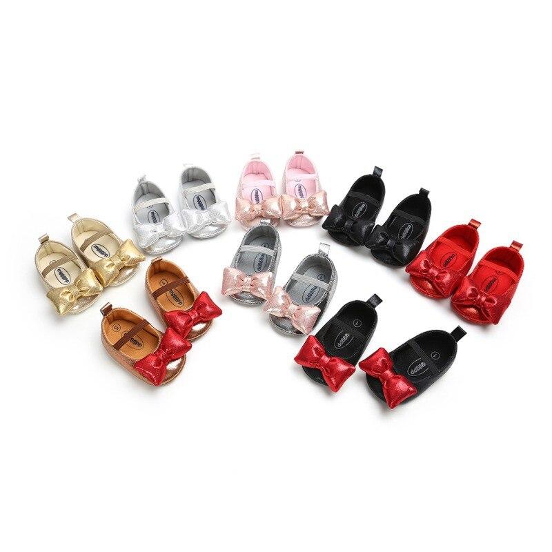 Recién llegado zapatos de bebé con estilo para niñas, zapatos de princesa, dulces y encantadores primeros caminantes, zapatos transpirables con lazo para recién nacidos 019