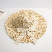 Summer Sun Hats Handmade Straw Hat Papyrus Large Brim Lace Bow Beach Cap New Sweet Women Elegant Camel Beige Travel Caps