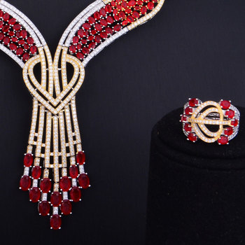 Red Austrian Crystal Luxury Noble Jewelry Set  2