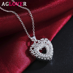 AGLOVER 925 en argent Sterling 18 pouces chaîne creux coeur pendentif collier pour femme mode charme mariage bijoux cadeau