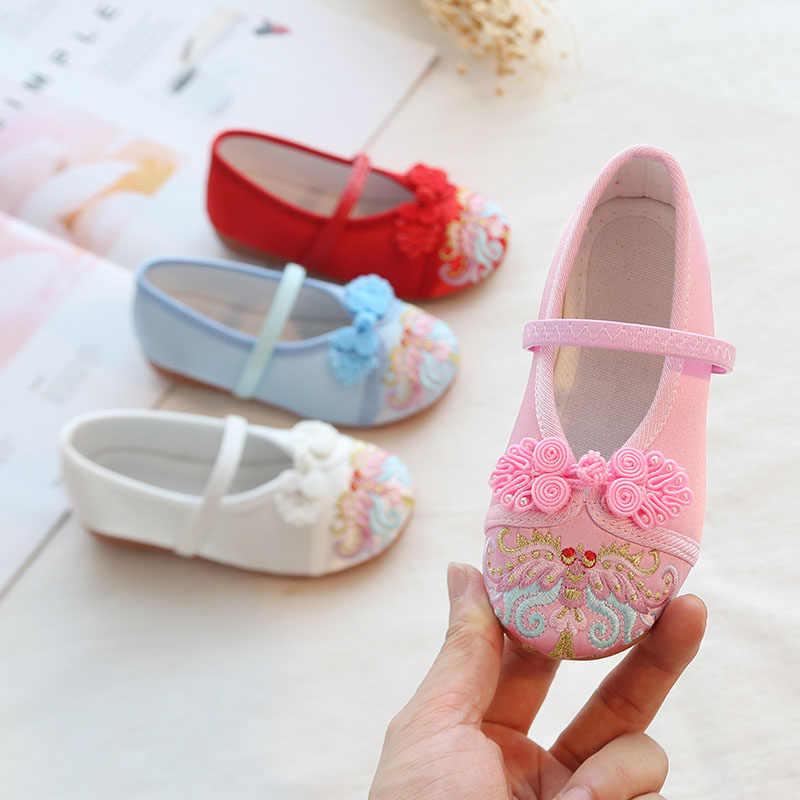 VFOCHI חדש בנות נעלי סיני סגנון רקמת Flated בנות ריקוד נעלי ילדי Princesss נעליים לילדים בנות נעליים יומיומיות