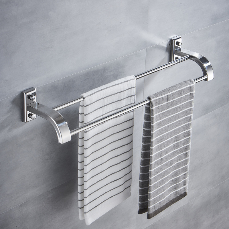 Manufacturers Direct Selling 304 Stainless Steel Hole Punched Double Bar Towel Rack Bathroom Towel Bar Nailless Punched Dual-Use