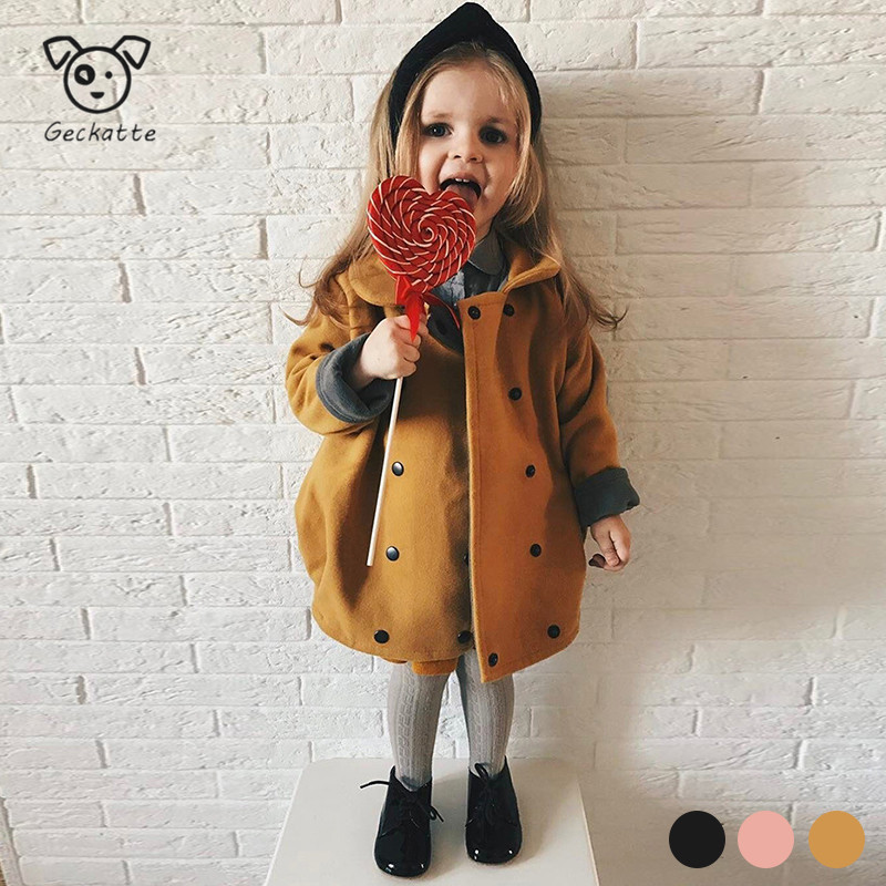 Geckatte New Spring Baby Girl Clothes Solid Button Girls Toddler Girl Clothes Long Coat For Girls Toddler Girl Coat Baby Clothes