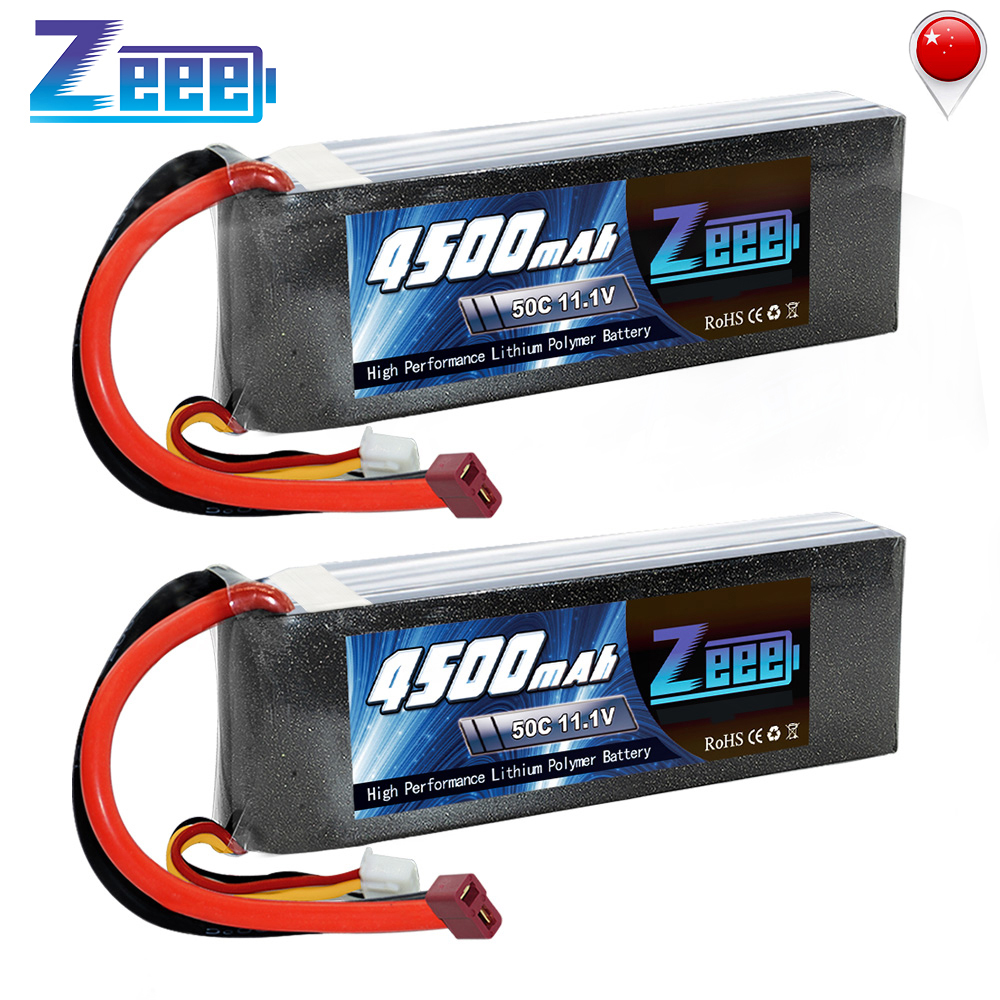 2units Zeee 11.1V 4500mAh 50C 3S LiPo Battery Pack with T Plug for RC Car Heli Quad Drone Helicopter Boat RC Airplane image