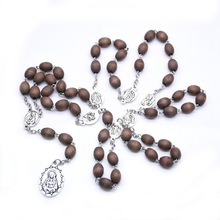 QIGO Brown Wood Rosary Necklace Long Catholic Pray Jewelry For Men Women Religious Gifts