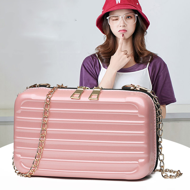 Women Long Chain Shoulder Bag Famous Design Suitcase Shape Totes Fashion Mini Luggage Bag Women Famous Brand Clutch Mini Box Bag in Shoulder Bags from Luggage Bags