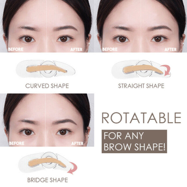 Adjustable Eyebrow Stamp Rotatable For Three Type Brow Shape Softer & Structured Brow Shape Eyebrow Stencils Eyes Makeup Tools 2