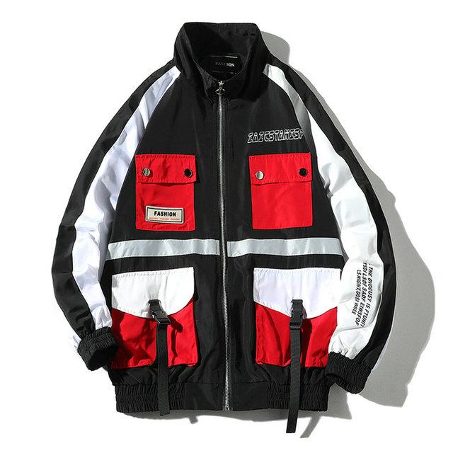 2019 Fashion Ribbons Loose Men Jacket Multi Pocket Autumn Hip Hop Jackets Male Streetwear Casual Men's Cargo Jackets Windbreaker