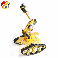 SZDOIT A Set Metal 7 DOF Robot Platform Kit 7 Axis Metal Robotic Arm With TS300 Shock Absorbing Tank Chassis Servos Motors DIY