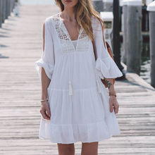 Hirigin Fashion Cover Up Bikini For Women Casual Sexy V-Neck Long Sleeve Lace Trim Short Mini Dress White Dress Tops Vestido fashionable plunging neck short sleeve embroidered lace spliced dress for women