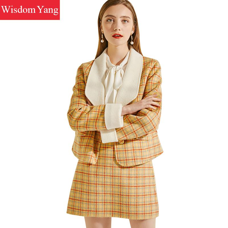 2 Pieces Set Winter Coat Suit Black Plaid Yellow Cashemere Wool Coats Women Laides Overcoat Woolen Mini Skirts Suits Outerwear