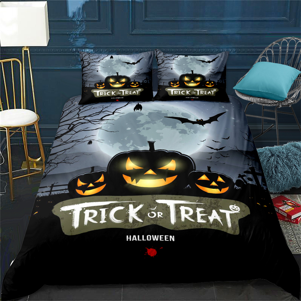 Happy Halloween Duvet Cover Set Pumpkin Lantern Trick Or Treat Bedclothes Pillowcase Bed Bedding Set Black Bed Linen Set UK King