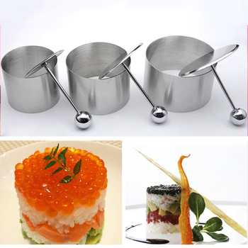 2/6PCS Stainless Steel Round Cold Dish Mold With Push Board Kitchen Hotel Creative Dish Tool Salad Dish Fried Rice Shaping Mold