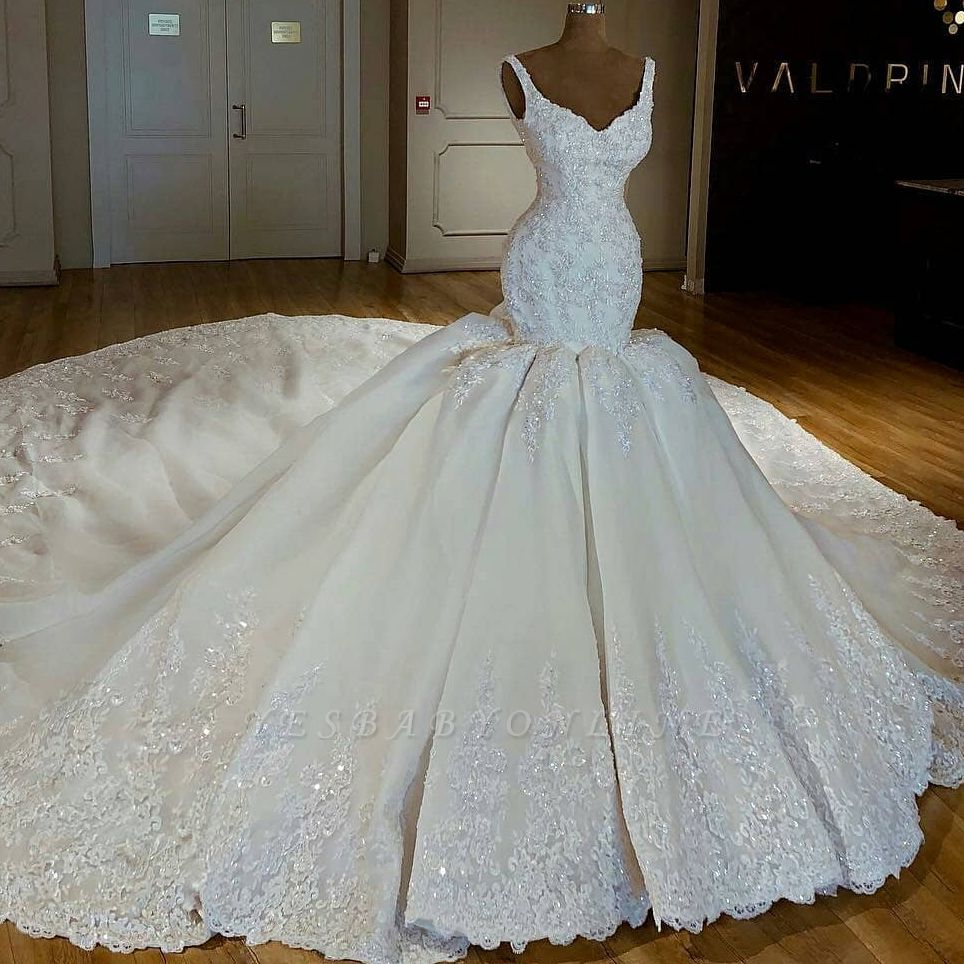 Big Ball Gown Long Wedding Dresses Sexy Zipper Back Bride Dresses For Wedding Vestidos De Novia 2020