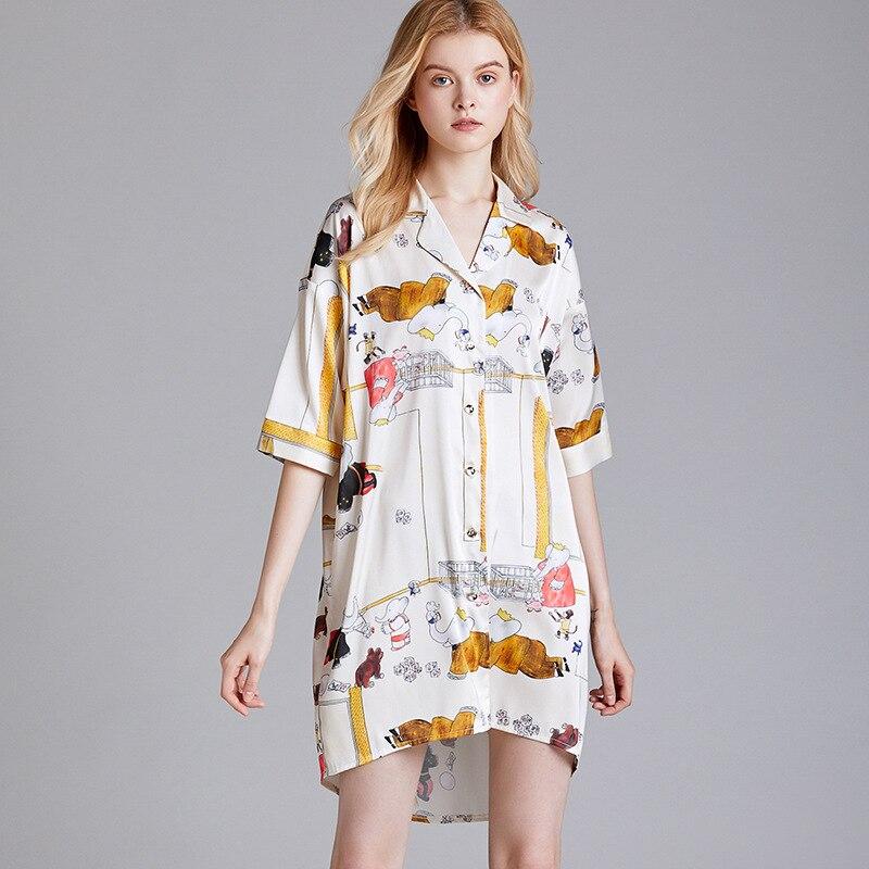 Yao Ting New Style Spring And Summer Pajamas Women's Silk Thin Half-sleeve Shirt Nightgown Female Summer Shirt Dress Home Wear-O