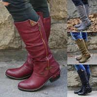Schuhe Frau 2019 Mode Frauen Westlichen Cowboy Knie Stiefel Punk Stiefel Niedrigen Starke Ferse Seite Zippper Booties Botas Mujer Dropship