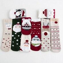 3 пары, хлопковые длинные носки в рождественском стиле для маленьких мальчиков и девочек милые плотные Длинные Носки с рисунком животных в скандинавском стиле