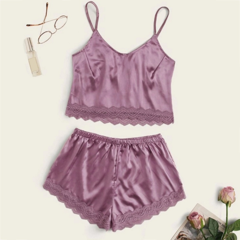 Sexy Women Satin Pajama Set Sleepwear Lace Trim V-Neck Pyjamas Ladies Sleeveless Cami Top And Shorts Nightwear