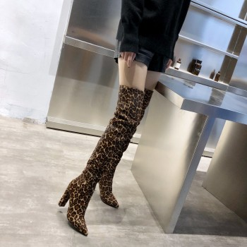 2021 Genuine Leather Women The Knee High Boots Pointed Toe Leopard Horse Hair Long Boot Natural Leather Winter Women Heels Shoes