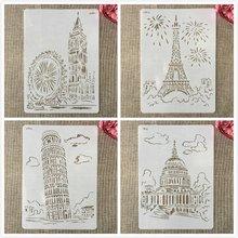 4 шт трафареты 29 см a4 Всемирно Известные здания Лондона Парижа