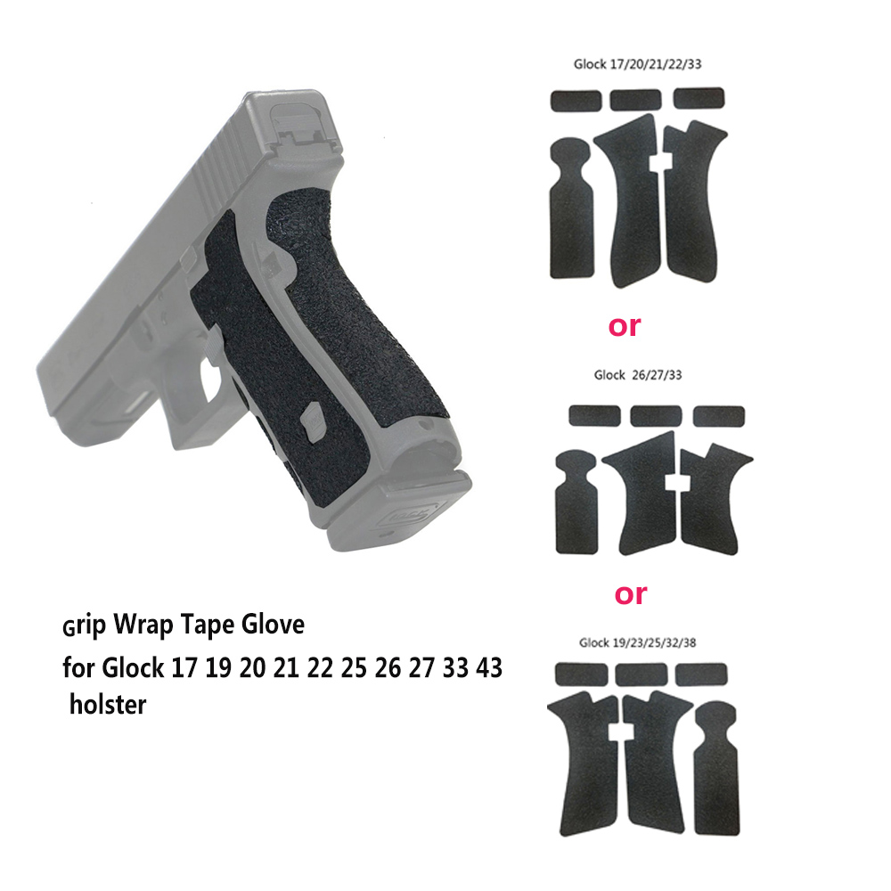 Grip Wrap Tape Glove Waterproof Non-slip Rubber Texture For Glock 17 19 20 21 22 25 26 27 33 Holster 9mm Pistol Toy Gun Covers