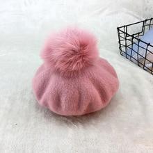 Autumn Winter Thick Wool Beret Women New Fashion Octagonal Cap Super Large Fox Fur Pompom Ball Painter Hat