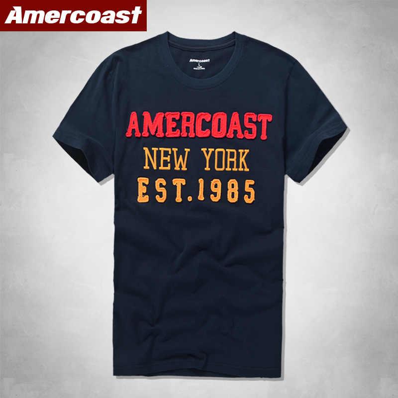 아메리칸 코스트 남성복 100% 코튼 티셔츠 withRound 목과 짧은 소매 유명 브랜드 여름 스타일 남성 고품질 클래식