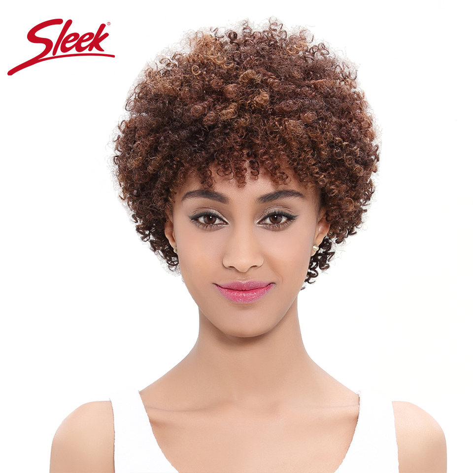 Sleek Natural Human Hair Wigs  Brazilian Afro Kinky Curly Weave Bundle Short Machine Made Remy Human Hair Wigs Free Shipping