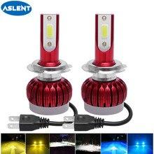 ASLENT 2pcs 자동차 Led 헤드 라이트 6000LM H1 H3 H7 H8 H9 H11 9005 9006 H4 3000K 6000K 8000K 미니 LED 안개 조명 자동 헤드 램프 전구