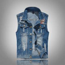 Рваная джинсовая куртка для мужчин жилет из денима в стиле хип