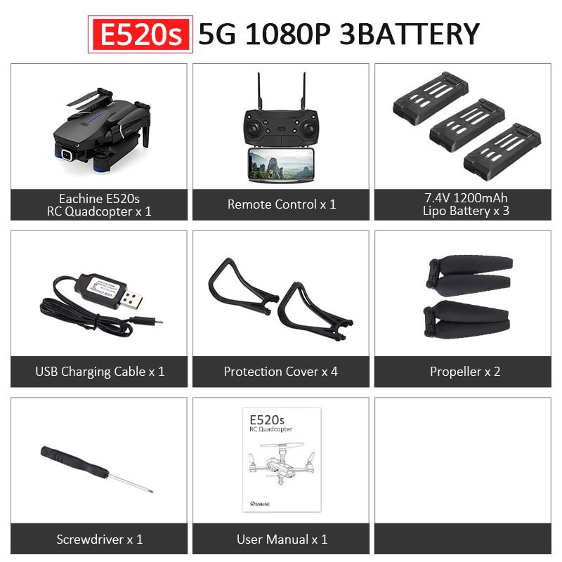 Eachine E520S E520 gps FOLLOW ME wifi FPV Квадрокоптер с 4 K/1080 P HD широкоугольная камера Складная Высота удержания прочный Радиоуправляемый Дрон - Цвет: E520S 5G 1080P 3B