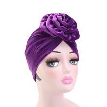 New Muslim Women Velvet big Flower Turban Hat Scarf Headwrap Chemo Beanie Hijab Bonnet Cap Headwear Cancer Hair Accessories