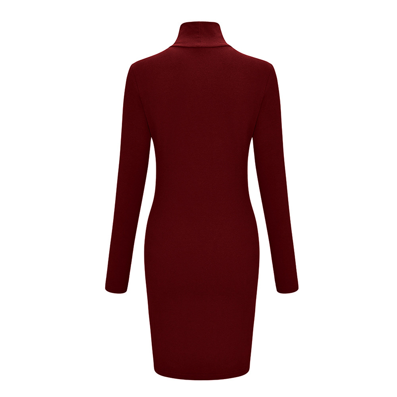 ZAATON®  New stand collar long sleeve solid color sexy slim hip dress 5