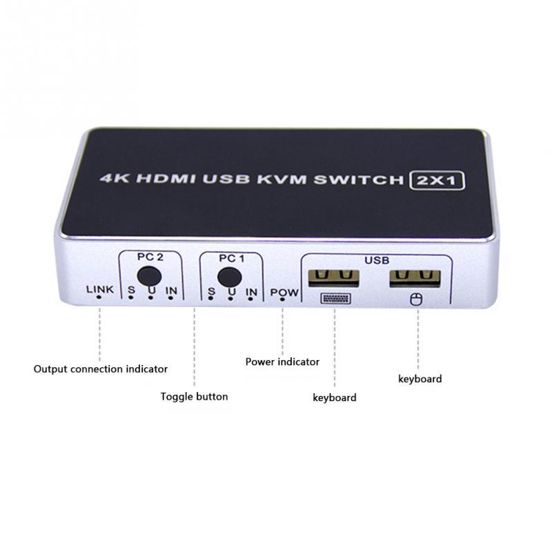 4K Ultra HD Hdmi Port Sharing KVM Switch Box For Keyboard USB 2.0 Plug And Play