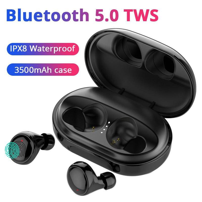 HiFi Bluetooth écouteur IPX8 étanche TWS Bluetooth 5.0 casque 3500mA étui pour iphone X 7 8 6s Huawei Xiao mi mi 9t