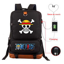 Mochila De Viaje de Anime japonés de una pieza para adolescentes Luffy, mochila Harajuku, mochila escolar de lona, mochila escolar
