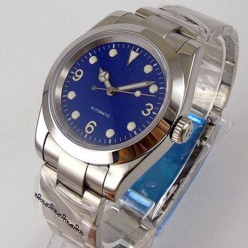 36mm polerowany automatyczny zegarek męski szczotkowana bransoletka Oyster NH35A ruch szafirowy kryształ niebieska świecąca tarcza tanie i dobre opinie PaGeFelix 5Bar CN (pochodzenie) Zapięcie bransolety simple Mechaniczna nakręcana wskazówka Samoczynny naciąg 22cm STAINLESS STEEL