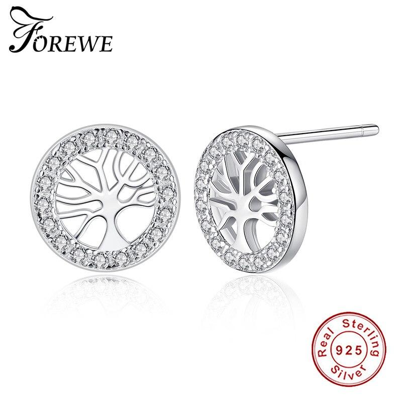 Romantic Jewelry 925 Sterling Silver Stud Earrings For Women Wedding Cubic Zirconia Stone Tree Of Life Circle Earrings Bijoux